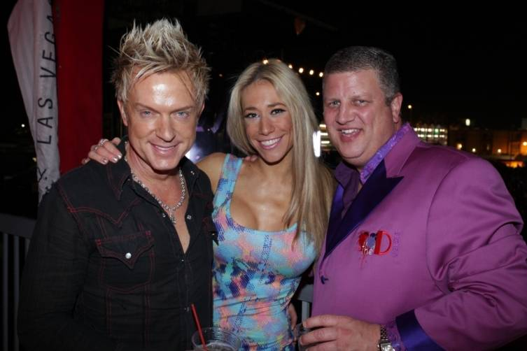 Zowie Bowie's Chris Phillips and Lydia Ansel with Derek Stevens at the D's VIP cabana at Life Is Beautiful Festival, 10.26.14