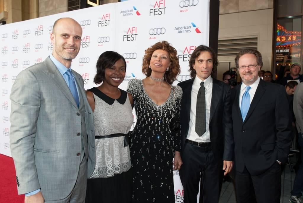 Edoardo Ponti, Jacqueline Lyanga (FEST Director, AFI FEST), Sophia Loren, Carlo Ponti, Bob Gazzale (President and CEO AFI)