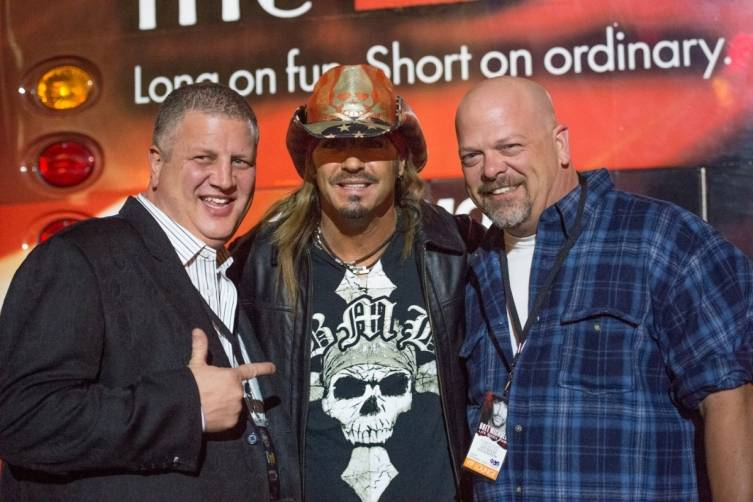 the D owner and CEO Derek Stevens, Bret Michaels and Pawn Stars' Rick Harrison pose before the show at the Downtown Las Vegas Events Center 11.7.14