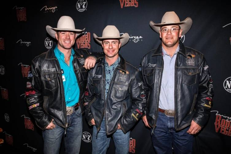 12.6.14 Team Mirage cowboys Cort Scheer, Chad Ferley and Seth Brockman at Rodeo Vegas - Photo by Joe Torrance, Powers Imagery