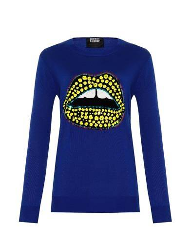 Markus Lupfer Sequined Lips Sweater $491