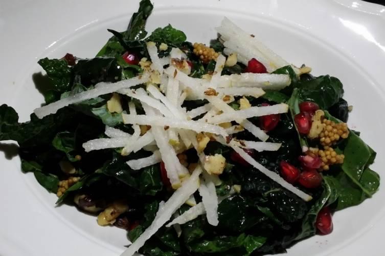 Organic Lacinato Kale Salad with pomengranites at Seagrape