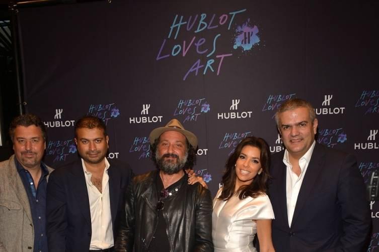 Rick de la Croix, Kamal Hotchandani, Mr. Brainwash, Eva Longoria and Ricardo Guadalupe by Omar Vega