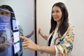 Rebecca Minkoff uses the connected mirror in the fitting room