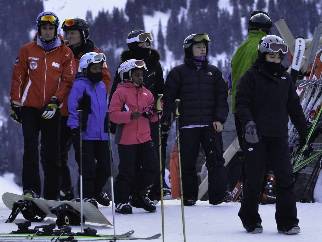Madonna skiing with her children
