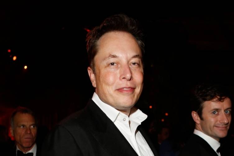 Elon Musk at TWC/Netflix post-Golden Globes party