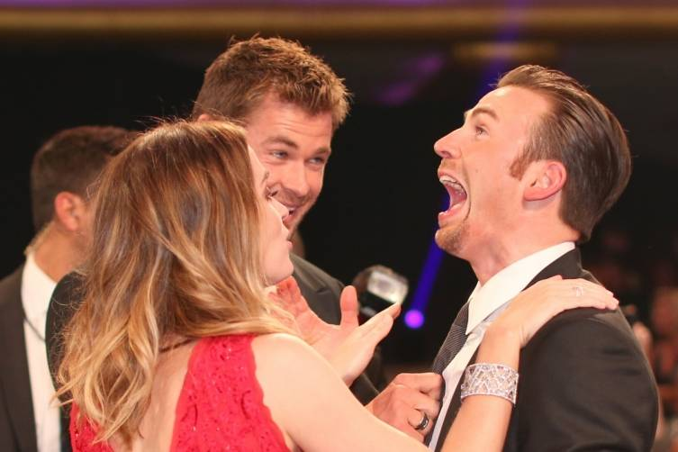 Emily Blunt, Chris Hemsworth and Chris Evans