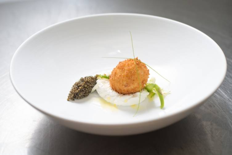 Fried Organic Poached Egg by Chef Stephane Caporal