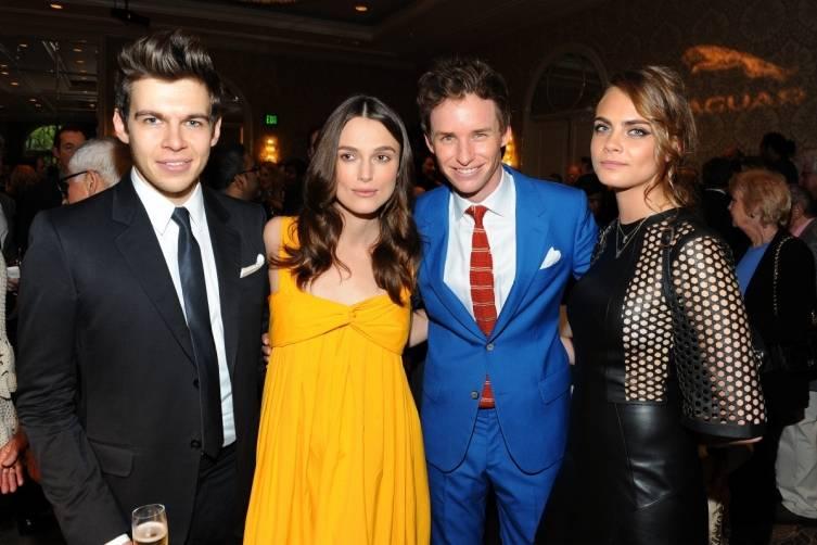 James Righton, Keira Knightley, Eddie Redmayne and Cara Delevingne at the BAFTA Tea Party