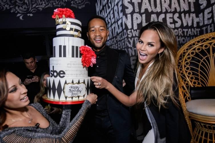 John Legend celebrates with wife Chrissy Teigen at Foxtail Nightclub