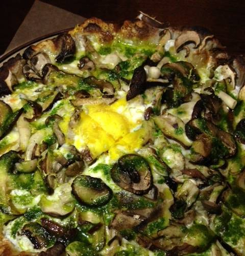 Mushroom Pizza with galic-parsley oil and an organic farm egg