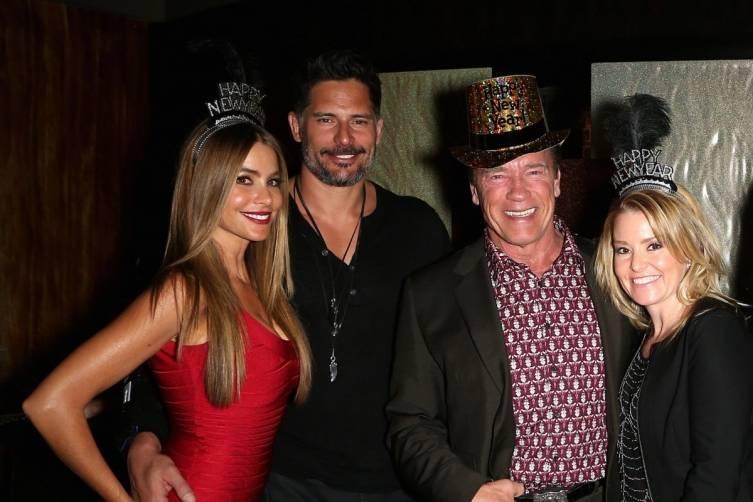 Sofia Vergara, Joe Manganiello, Arnold Schwarzenegger and Heather Milligan celebrate New Year's Eve together at Planet Hollywood Resort. Photo: Gabe Ginsberg