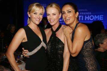 Reese Witherspoon, Charlize Theron and Salma Hayek at the Help Haiti Home gala