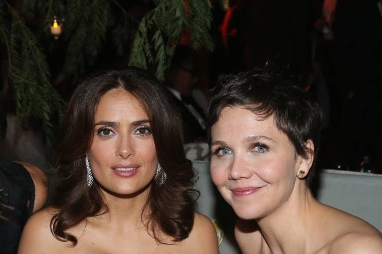 Salma Hayek and Maggie Gyllenhaal at TWC/Netflix post-Golden Globes party