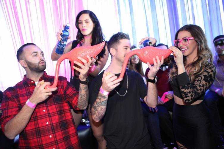Scheana Marie helps friends prepare for flabongo race at Ghostbar Dayclub