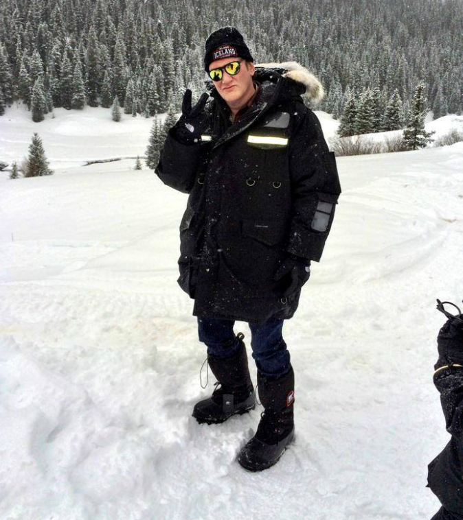 "Quentin Tarantino on the set of ""Hateful Eight,"" photo by Samuel L. Jackson"