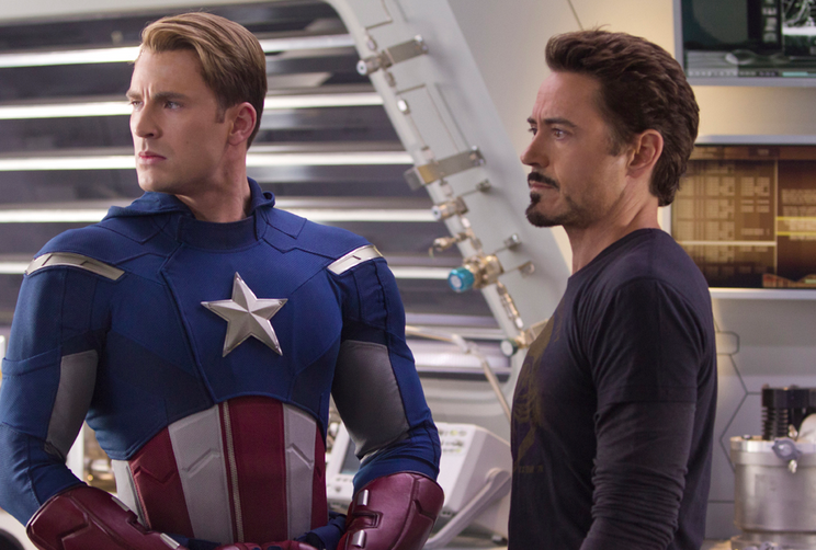 Chris Evans and Robert Downey, Jr. in the Avengers