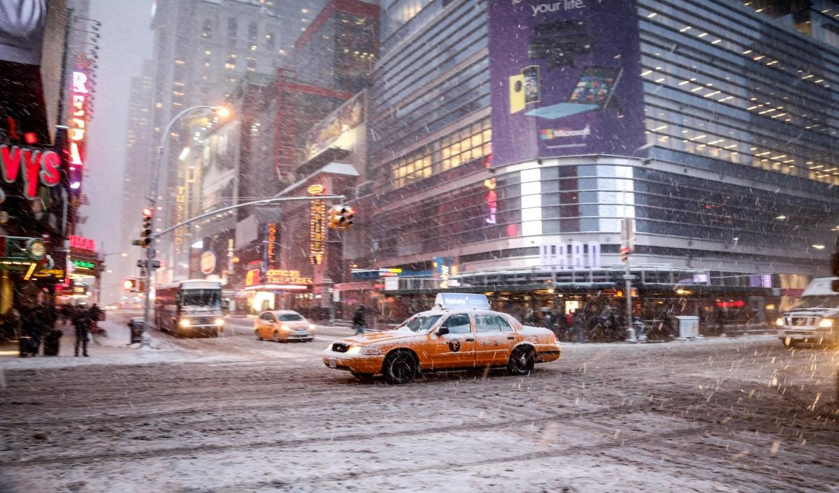 Times Square during Blizzard Juno