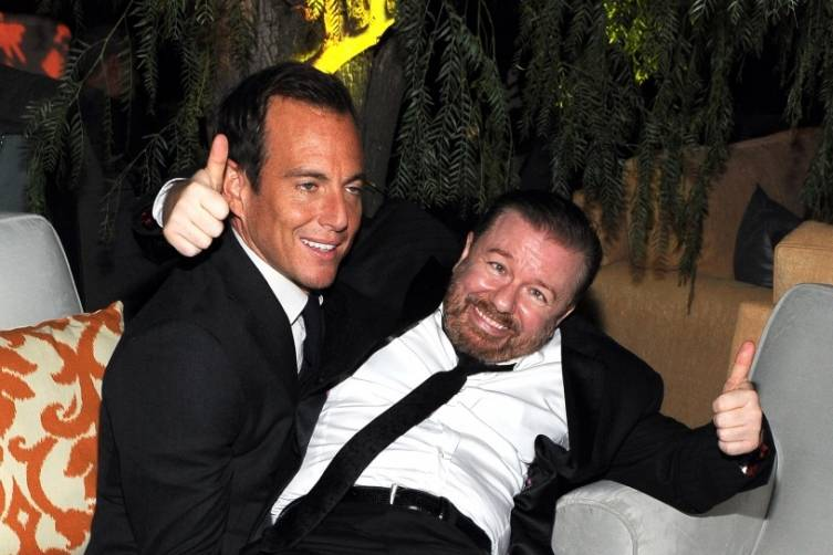 Will Arnett and Ricky Gervais at TWC/Netflix post-Golden Globes party