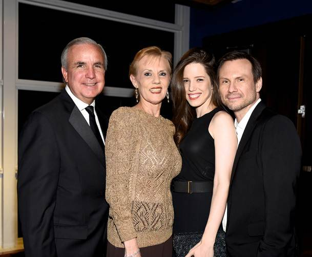 Mayor Carlos Gimenez and Lourdes Gimenez, and Gala Honorary Co-Chairs and Board members Brittany and Christian Slater by Yamila Lomba