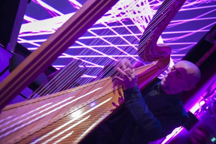 SF Symphony harpist Doug Rioth performing in Ravel's  Introduction and Allegro