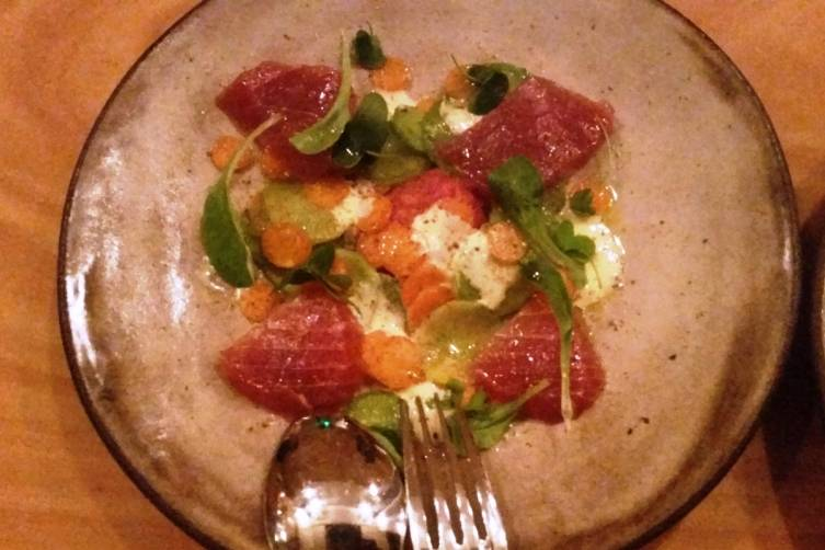 tuna crudo with greek daikon, yuzu & olio nuovo