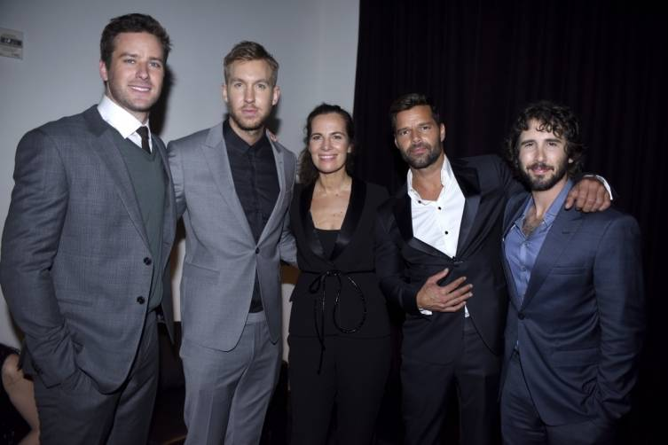 Armie Hammer, Calvin Harris, Roberta Armani, Ricky Martin and Josh Groban hang out at Armani's post-Grammy party