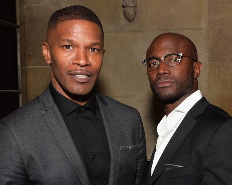 Jamie Foxx and Taye Diggs hang out at Warner Music Group's annual Grammys celebration