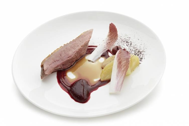 Challans duck with beetroot, griotte cherry, endive and shiso_Bonhams kitchen_0019Bonhams kitchen_0019