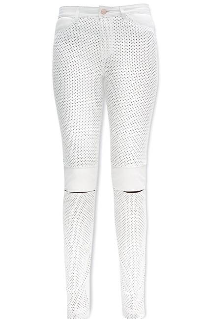 Emmanuella white leather pant; Available at Lyonandpost.com;  $990​