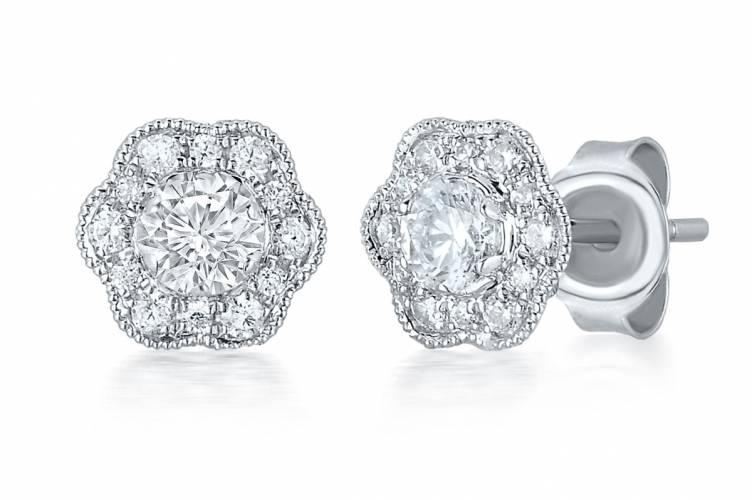 Marchesa diamond Flower Stud Earring in 14k White Gold