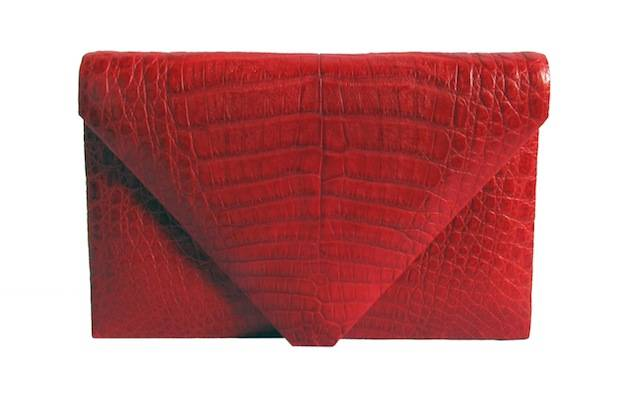 Hunting Season Red Crocodile Envelope Clutch