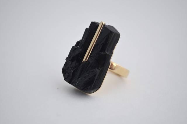Joanne Stone Black Tourmaline specimen ring