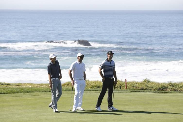 Jordan Spieth, Jake Owen and Dustin Johnson