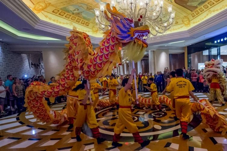 Lion Dance performers kick off Chinese New Year 2015 with a dance through The Venetian casino
