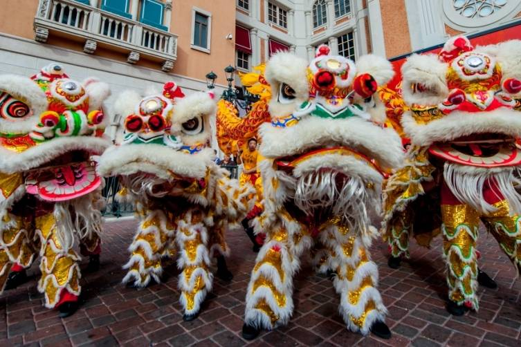 Lion dancers ready for the Chinese New Year kickoff at The Venetian