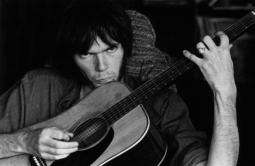Neil Young at Stephen Stills' House, in Studio City CA,1970