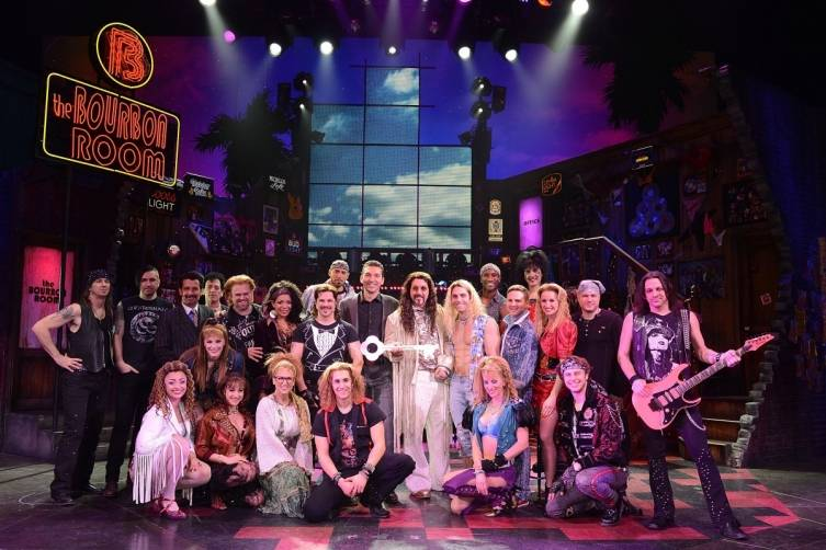 The cast of Rock of Ages with Sebastien Silvestri