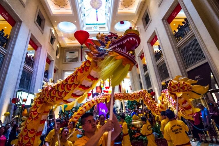 The 2015 Chinese New Year celebration continues in the Waterfall Atrium of The Palazzo
