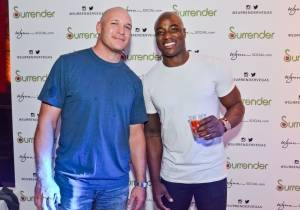 Brian Urlacher and DeMarcus Ware at Surrender Nightclub. Photos: Karl Larson
