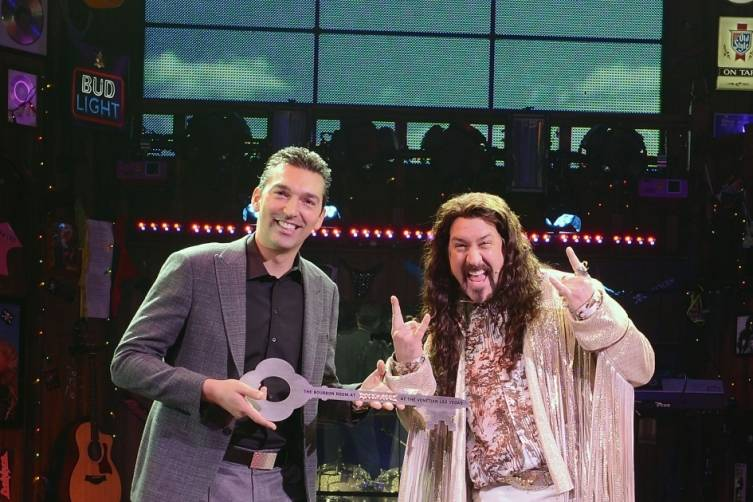 Vice President of Food & Beverage at The Venetain Palazzo Sabastien Silvestri Presents  Joey Fatone with Key to Bourbon Room_Credit Denise Trucsello