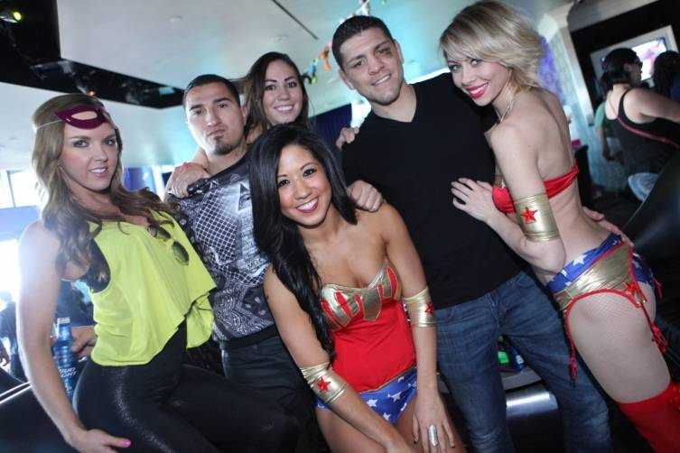 Nick Diaz and friends at Ghostbar Dayclub. Photo: Joe Fury