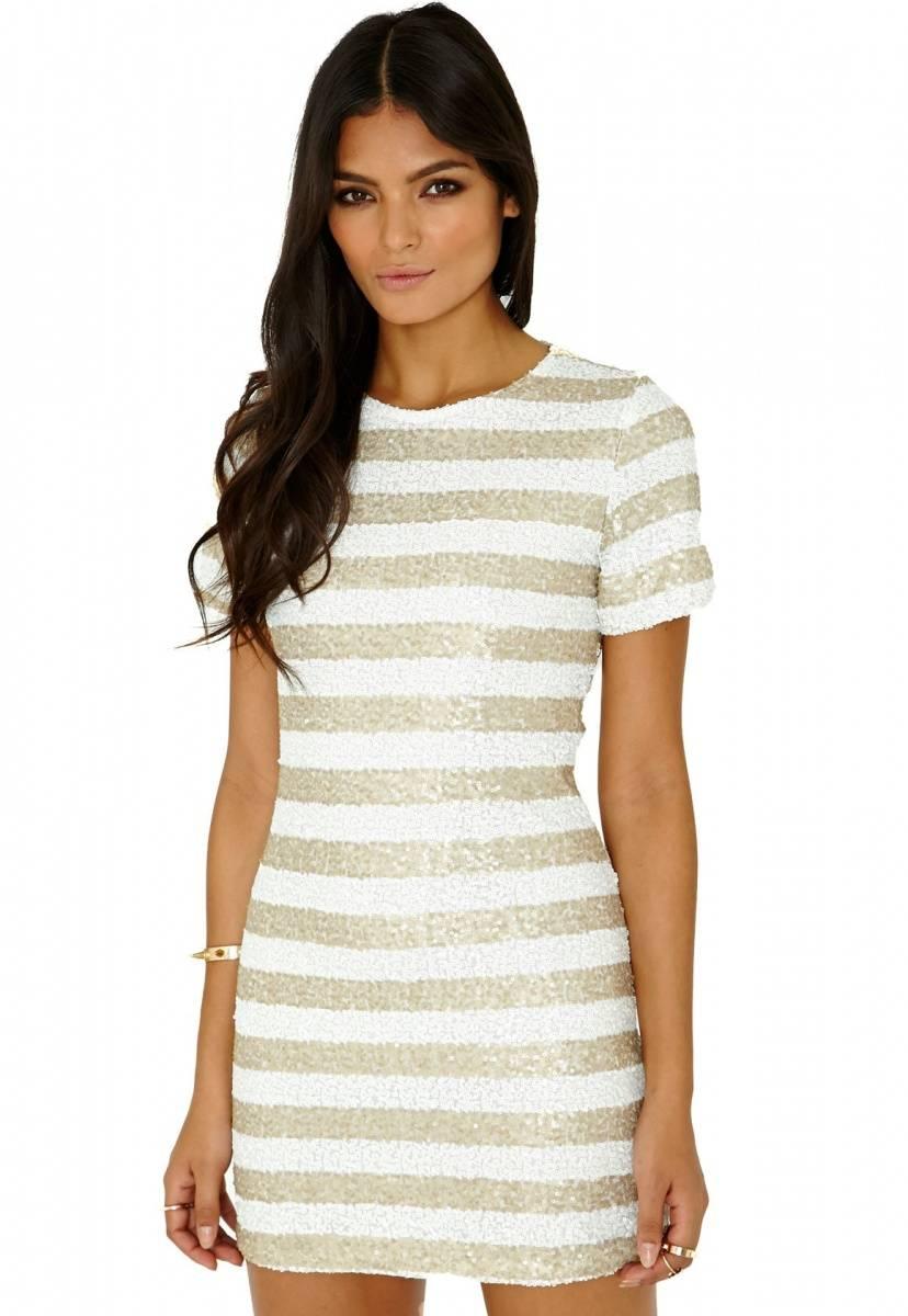 The dress broke internet - Melania Striped Sequin Shift Dress