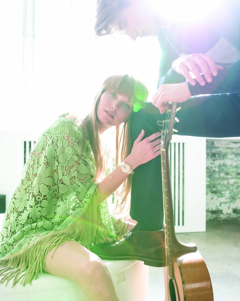 ON Her Alberta Ferretti Macrame fringe poncho,  ($3590). Available at www.centro39.com. Graff GraffStar Icon Automatic 38mm time-piece, (price upon request). Available at Graff,  237 Post Street San Francisco, CA.  415- 926-7000. 3131 Las Vegas Blvd.  South Las Vegas, NV. (702) 940-1000.  www.graffdiamonds.com. on him Band of Outsiders Woven panel silk and cashmere cardigan, ($475). Available at Band of Outsiders,  70 Wooster St. New York, NY (212) 965-1313 www.bandofoutsiders.com.
