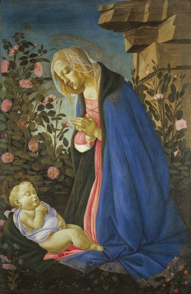 Sandro Botticelli, The Virgin Adoring the Sleeping Christ Child, ca.1490. Tempera and gold on canvas, 48 x 31.5 in. (74 x 42 framed). Scottish National Gallery