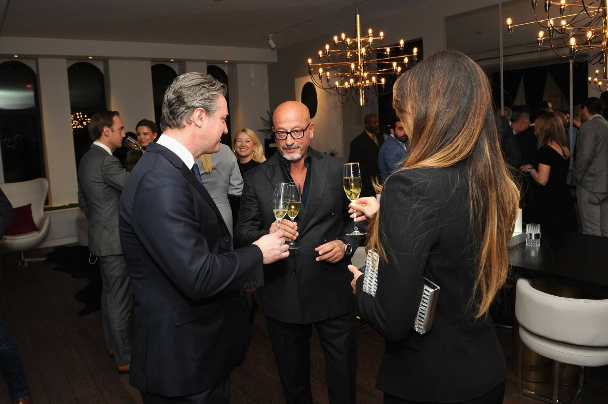 (L-R) Vice President Prestige Brands at Remy Cointreau USA Yves de Launay, Domenico Vacca and Eleonora Pieroni attend Haute Time collectors dinner