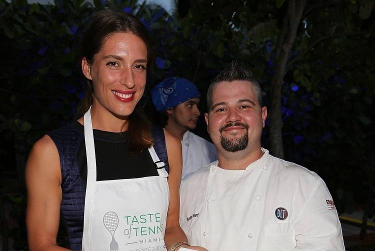 Andrea Petkovic with Chef Dustin Ward of BLT Prime