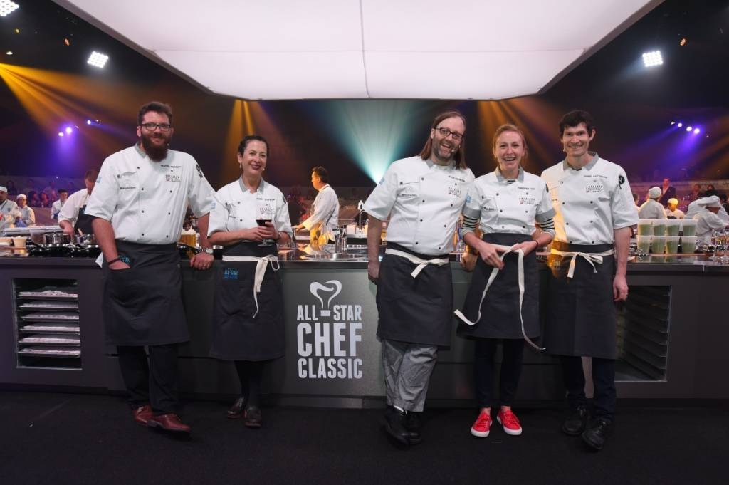 Chefs Michael Cimarusti, Nancy Silverton, Wylie Dufresne, Christina Tosi, and Daniel Patterson at the American Masters dinner