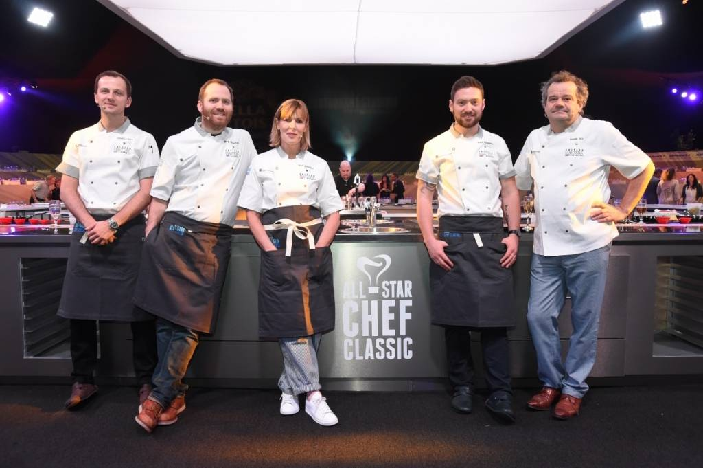 Chefs James Lowe, Bryn Williams, Skye Gyngell, Daniel Doherty, and Mark Hix at the British Masters dinner