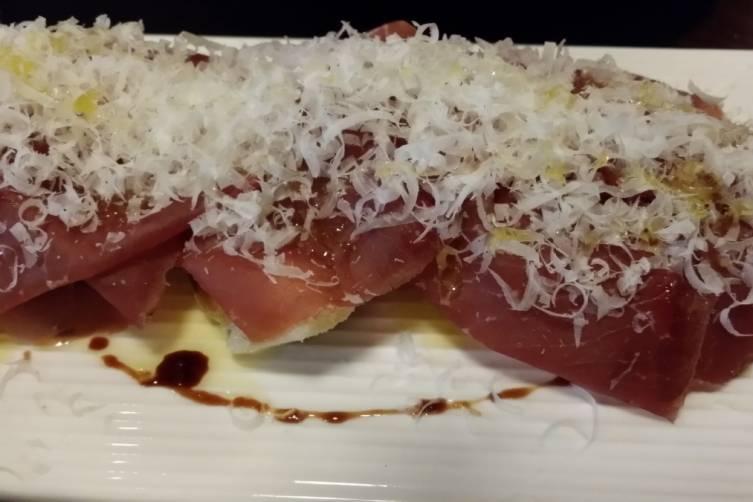 Artichokes under bresaola and parmesean